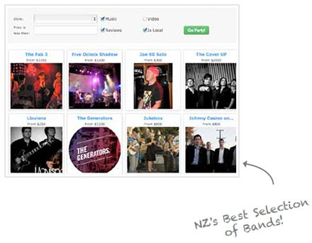 Search New Zealand Cover Bands for Hire